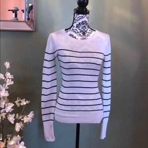Off-white and forest green striped sweater